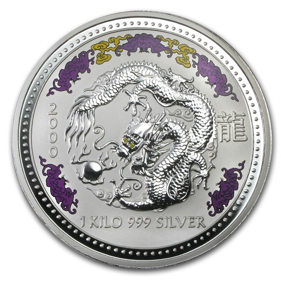 2000 Australia 1 kilo Silver Year of the Dragon BU (Diamond Eyes)