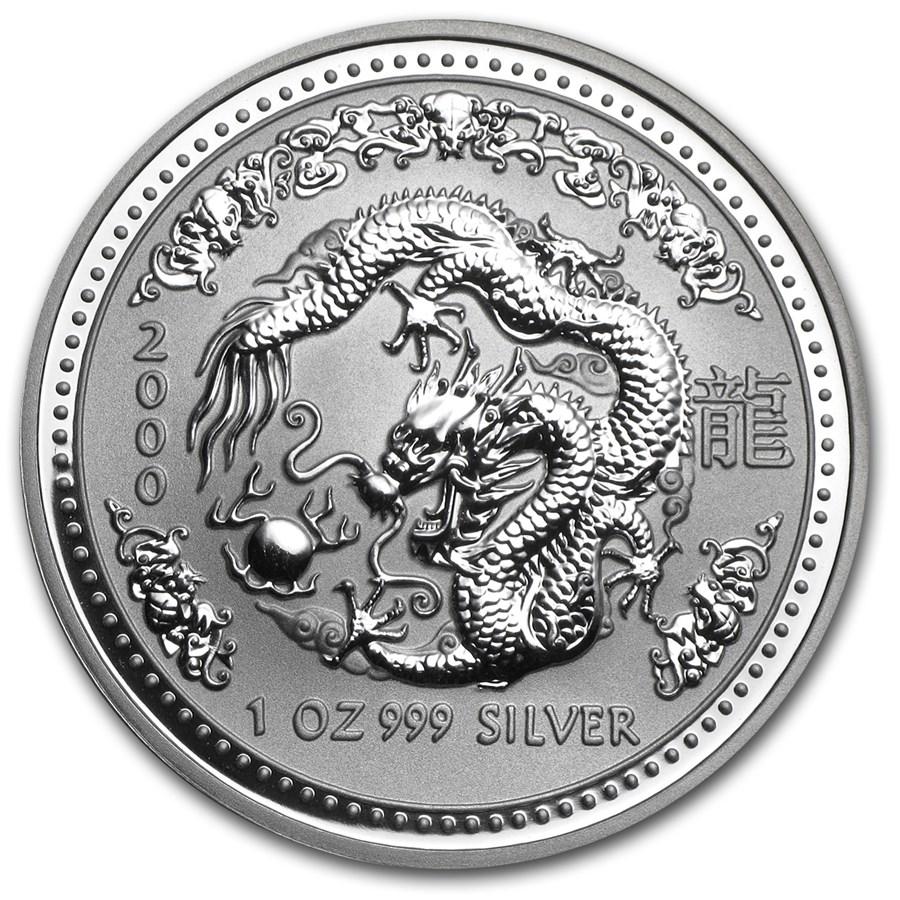 2000 Australia 1 oz Silver Year of the Dragon BU (Series I)