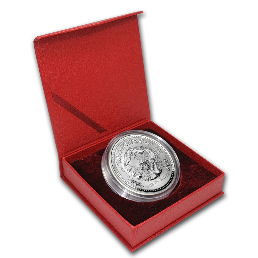 2000 Australia 10 oz Silver Year of the Dragon BU (w/Red box)