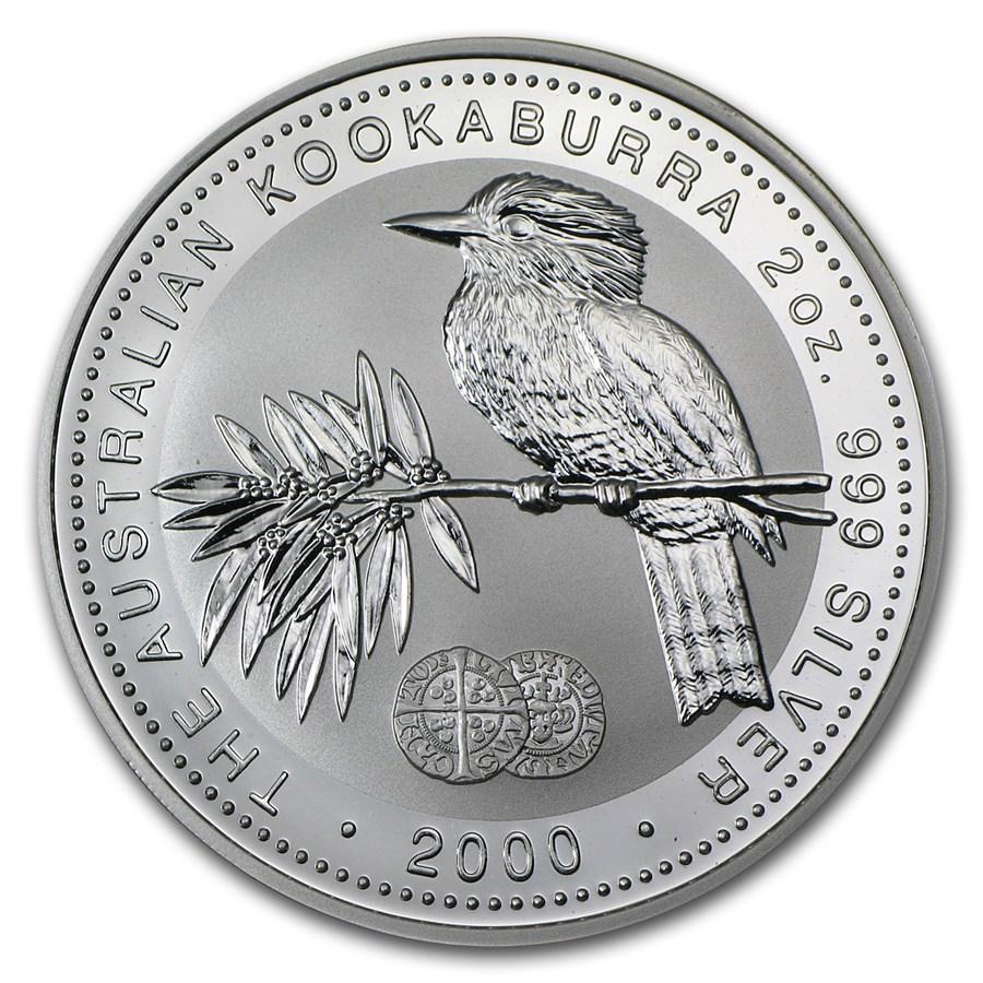 2000 Australia 2 oz Silver Kookaburra BU (Long Cross Penny Privy)