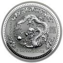 2000 Australia 2 oz Silver Year of the Dragon BU