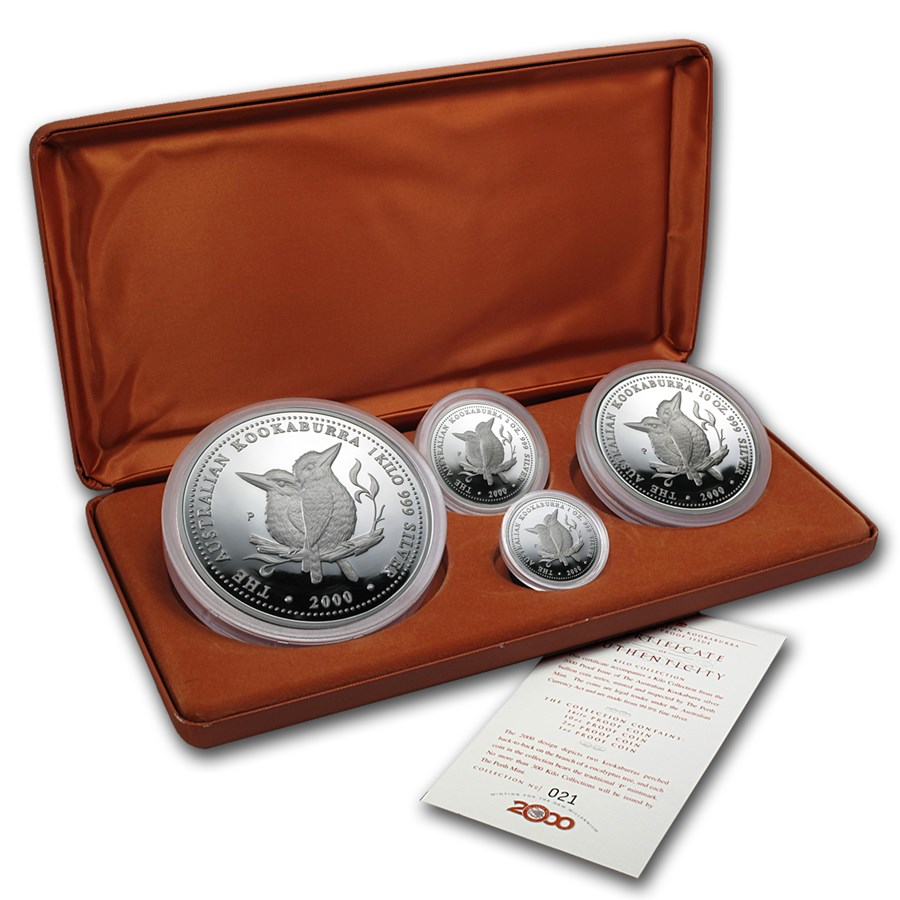 2000 Australia 4-Coin Silver Kookaburra Proof Set