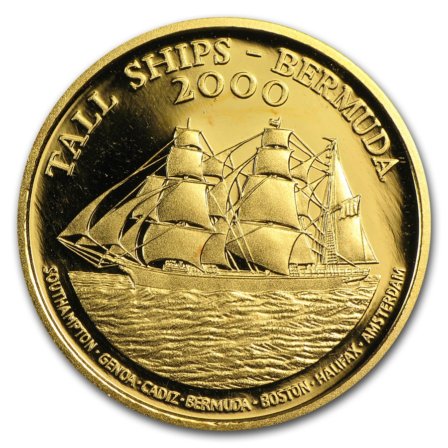 2000 Bermuda Proof Gold $15 Tall Ships Races