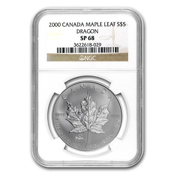 2000 Canada 1 oz Silver Maple Leaf Dragon Privy SP-68 NGC