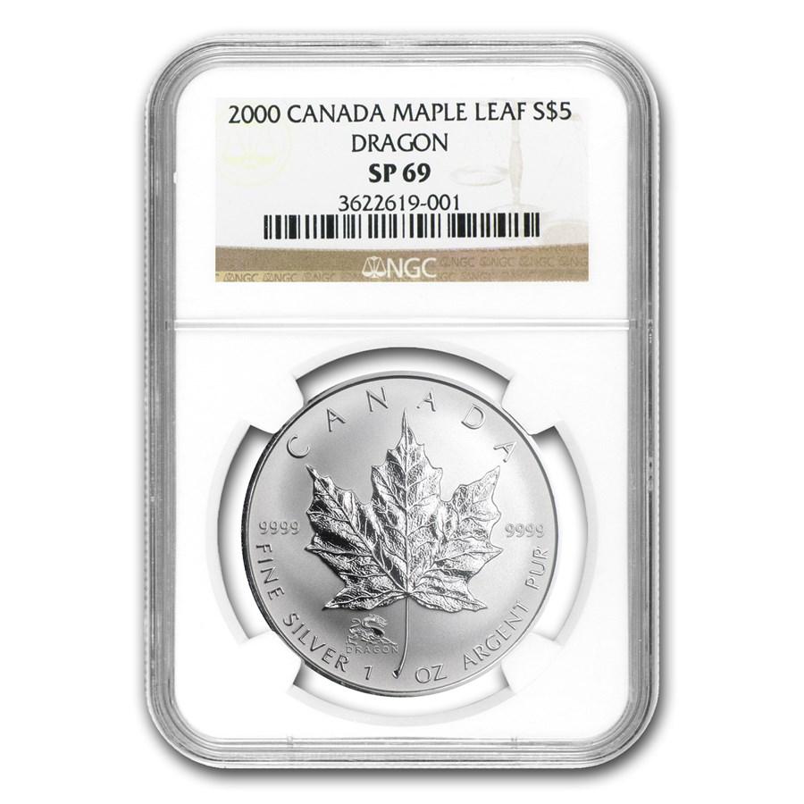 2000 Canada 1 oz Silver Maple Leaf Dragon Privy SP-69 NGC