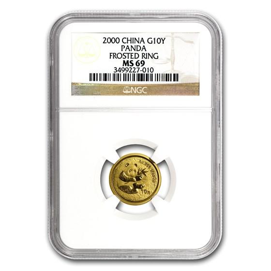 2000 China 1/10 oz Gold Panda Frosted MS-69 NGC