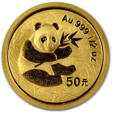 2000 China 1/2 oz Gold Panda Frosted BU (Sealed)