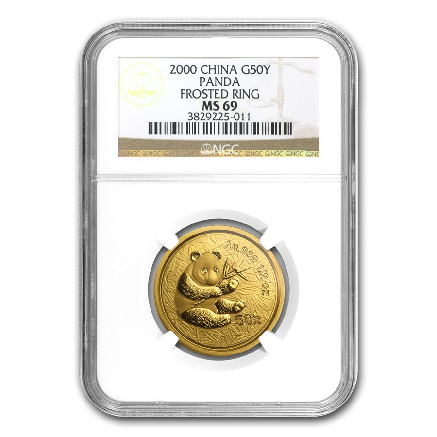 2000 China 1/2 oz Gold Panda Frosted MS-69 NGC