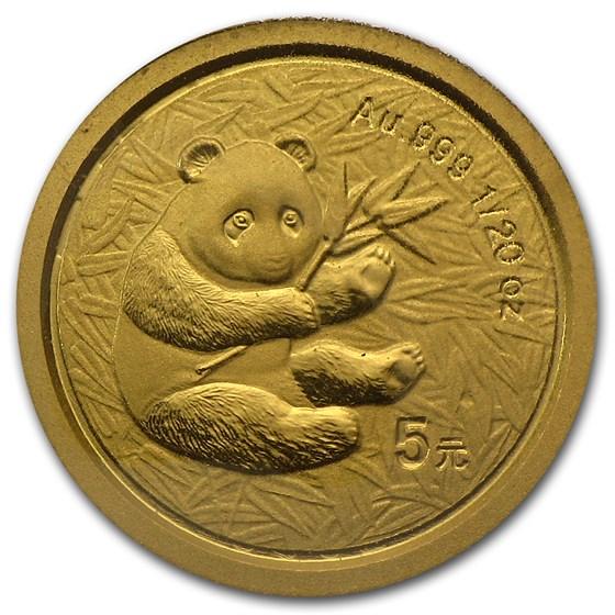 2000 China 1/20 oz Gold Panda Frosted BU (Sealed)