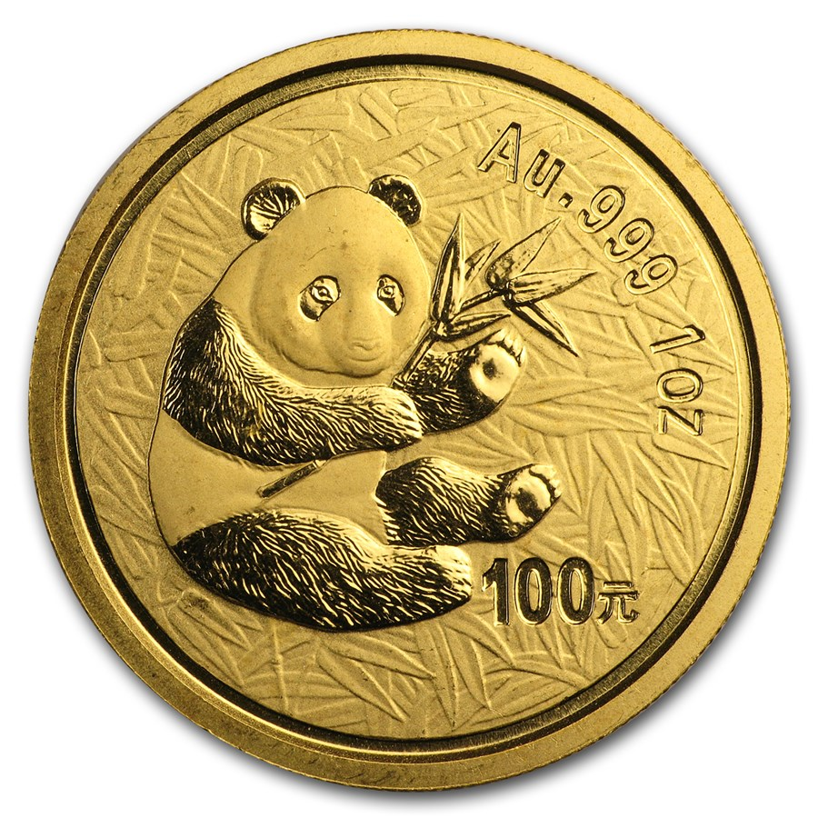 2000 China 1 oz Gold Panda Frosted Ring BU (In Capsule)
