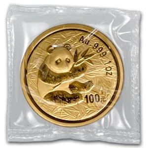 2000 China 1 oz Gold Panda Frosted Ring BU (Sealed)