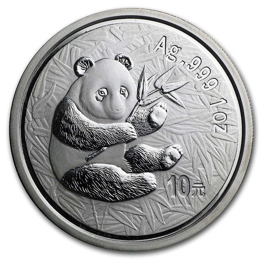 2000 China 1 oz Silver Panda Frosted BU (In Capsule)