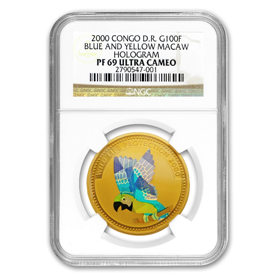 2000 Congo Proof Gold 100 Francs Blue & Yellow Macaw PF-69 NGC