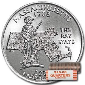 2000-D Massachusetts Statehood Quarter 40-Coin Roll BU