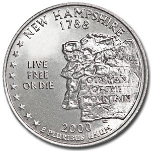 2000-D New Hampshire State Quarter BU