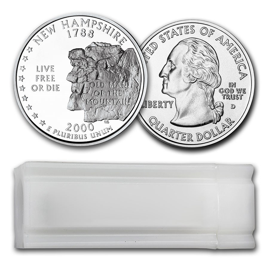 2000-D New Hampshire Statehood Quarter 40-Coin Roll BU
