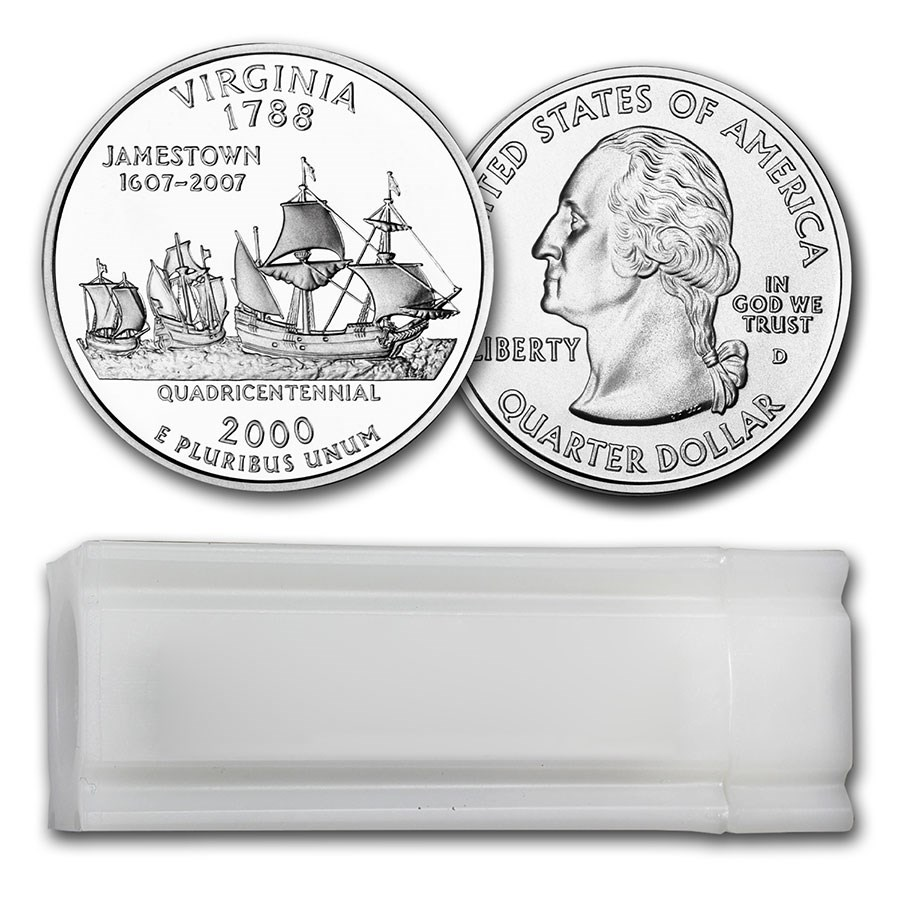 2000-D Virginia Statehood Quarter 40-Coin Roll BU
