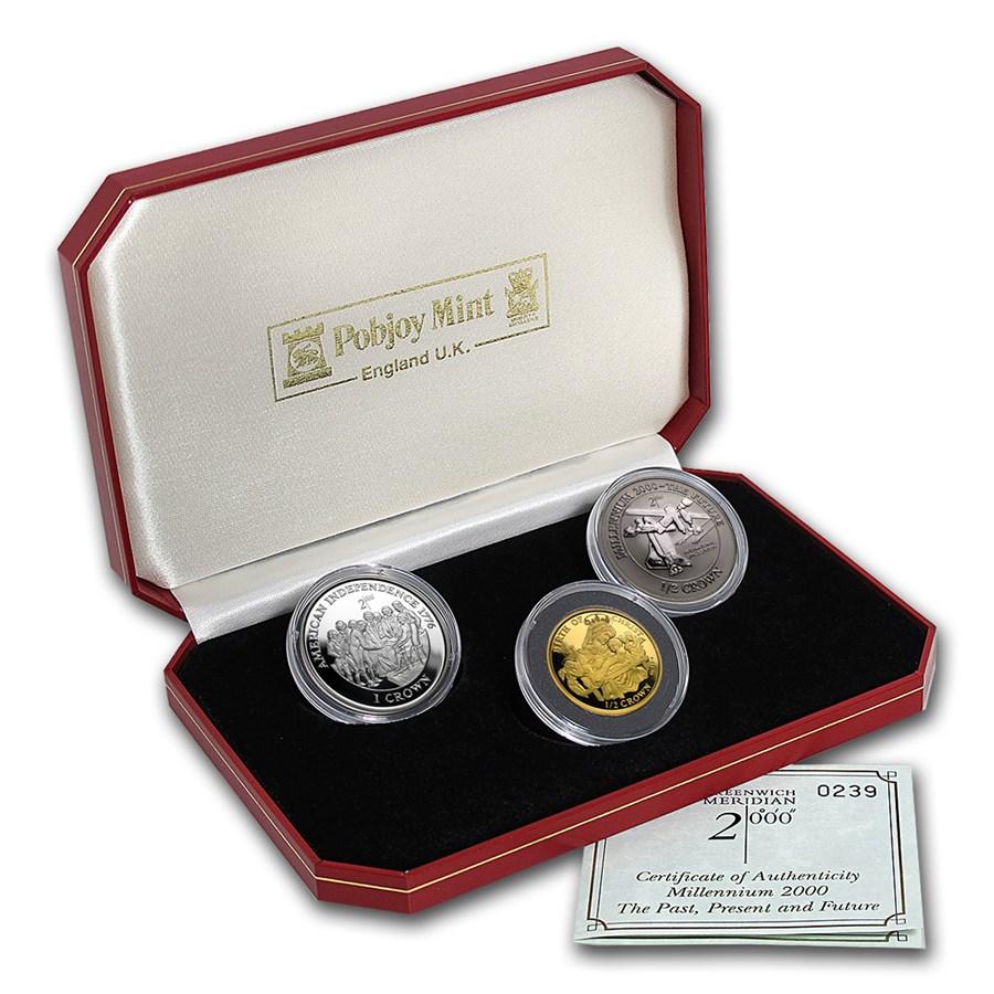 2000 Isle of Man 3-Coin Tri-Metal Millennium Set (w/box and COA)