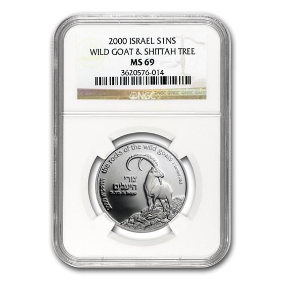2000 Israel Silver 1 NIS Wild Goat & Shittah Tree MS-69 NGC