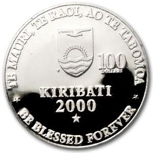 2000 Kiribati Platinum 100 Dollars Millennium Proof