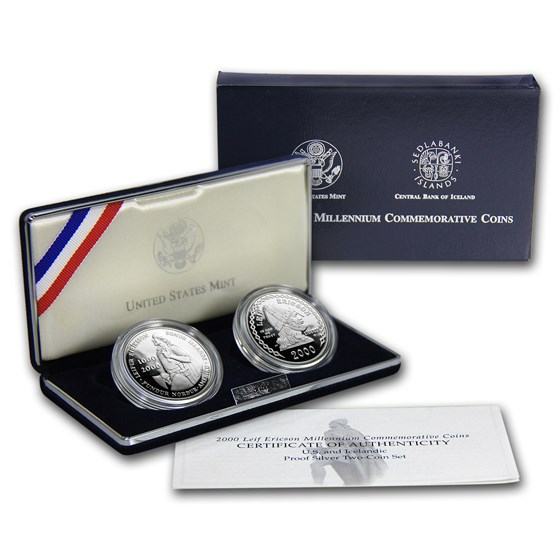 2000-P 2-Coin Leif Ericson Proof Set (w/Iceland Kronur, Box/COA)