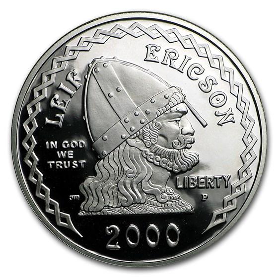 2000-P Leif Ericson $1 Silver Commem Proof (w/Box & COA)