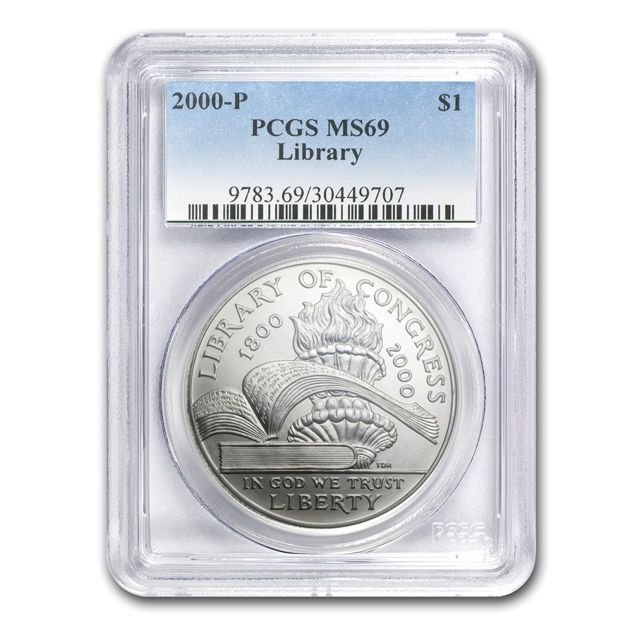 2000-P Library of Congress $1 Silver Commem MS-69 PCGS