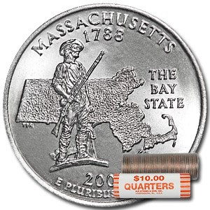 2000-P Massachusetts Statehood Quarter 40-Coin Roll BU