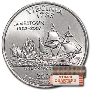 2000-P Virginia Statehood Quarter 40-Coin Roll BU