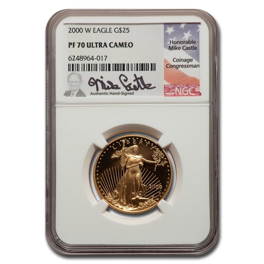 2000-W 1/2 oz Proof American Gold Eagle PF-70 NGC (Castle)