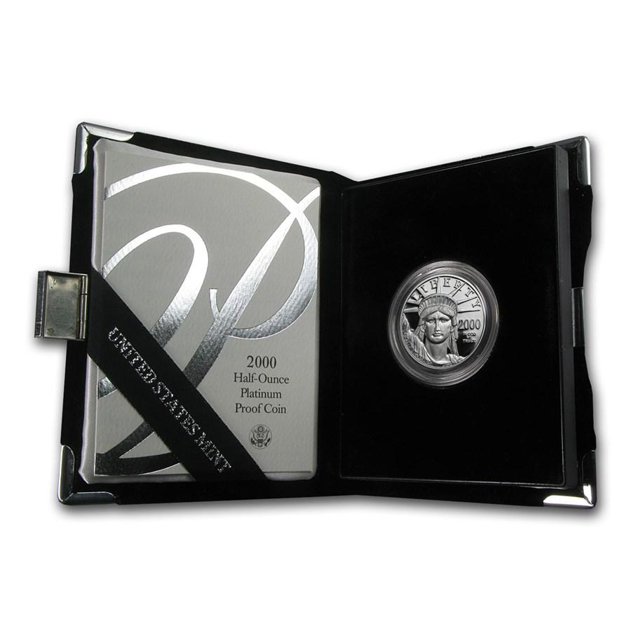 2000-W 1/2 oz Proof American Platinum Eagle (w/Box & COA)