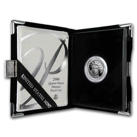 2000-W 1/4 oz Proof American Platinum Eagle (w/Box & COA)