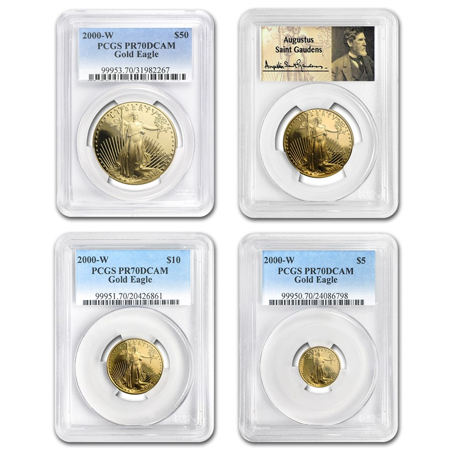 2000-W 4-Coin Proof American Gold Eagle Set PR-70 PCGS