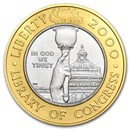 2000-W Gold/Platinum $10 Commem Library of Congress BU (Box/COA)