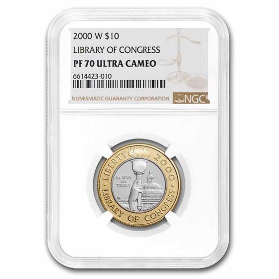 2000-W Gold/Platinum $10 Commem Library of Congress PF-70 NGC