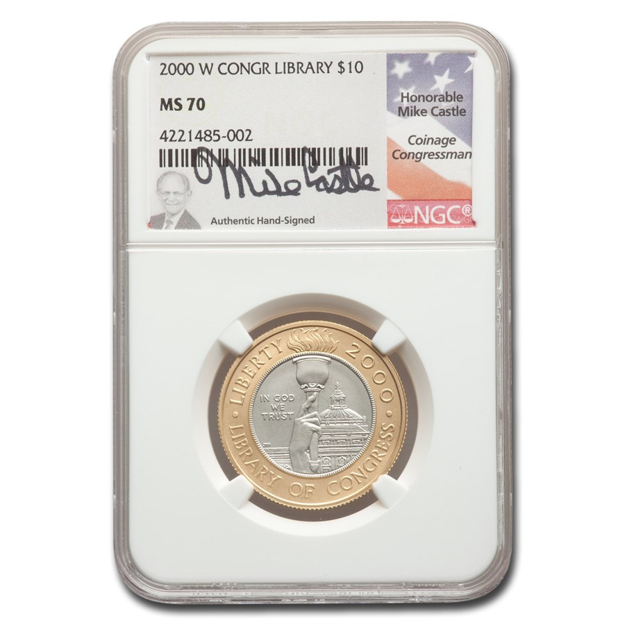2000-W Gold/Platinum $10 Library of Congress MS-70 NGC (M Castle)