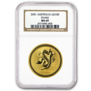 2001 1 oz Gold Lunar Year of the Snake MS-69 NGC (Series I)