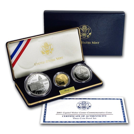 2001 3-Coin Commem Capitol Visitor Center Proof Set (w/Box & COA)