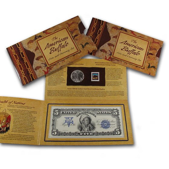 2001 American Buffalo $1 Silver Commem Coin & Currency Set
