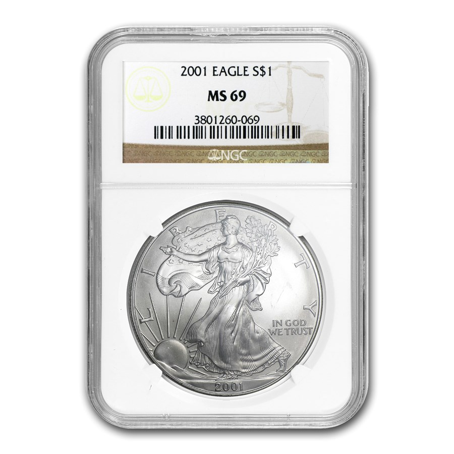 2001 American Silver Eagle MS-69 NGC