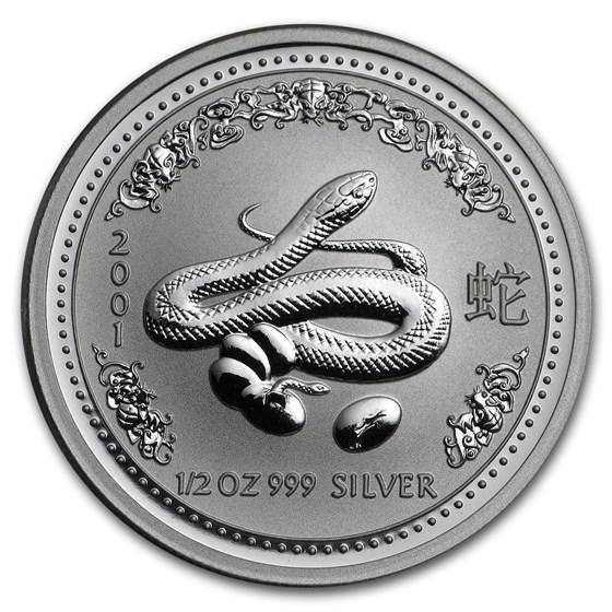 2001 Australia 1/2 oz Silver Year of the Snake BU (Series I)