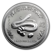 2001 Australia 1 kilo Silver Year of the Snake BU