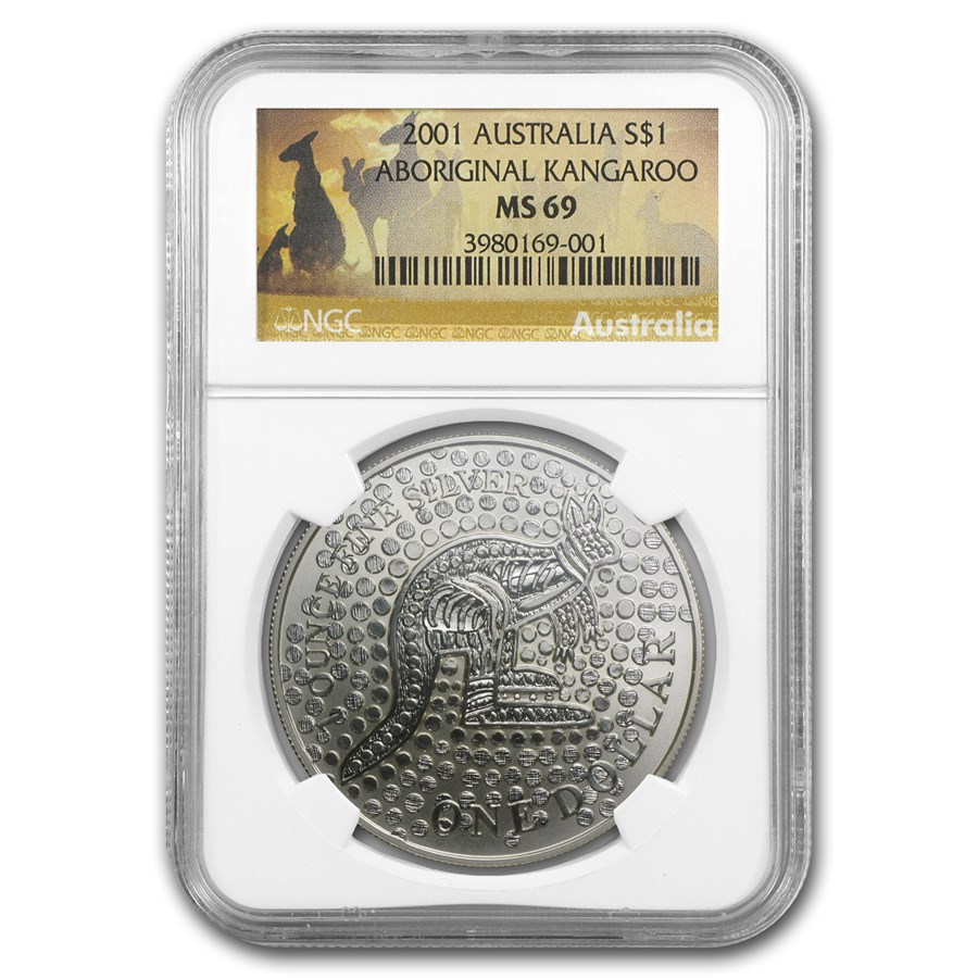2001 Australia 1 oz Silver Kangaroo MS-69 NGC