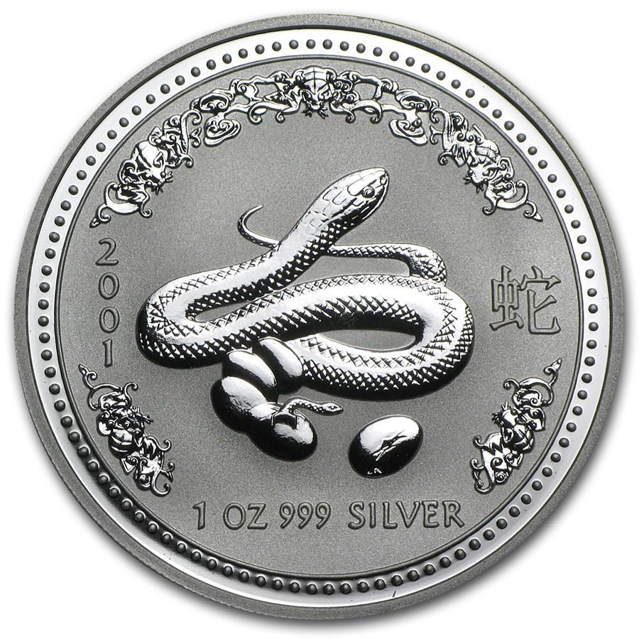 2001 Australia 1 oz Silver Year of the Snake BU (Series I)
