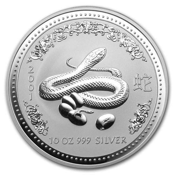 2001 Australia 10 oz Silver Year of the Snake BU