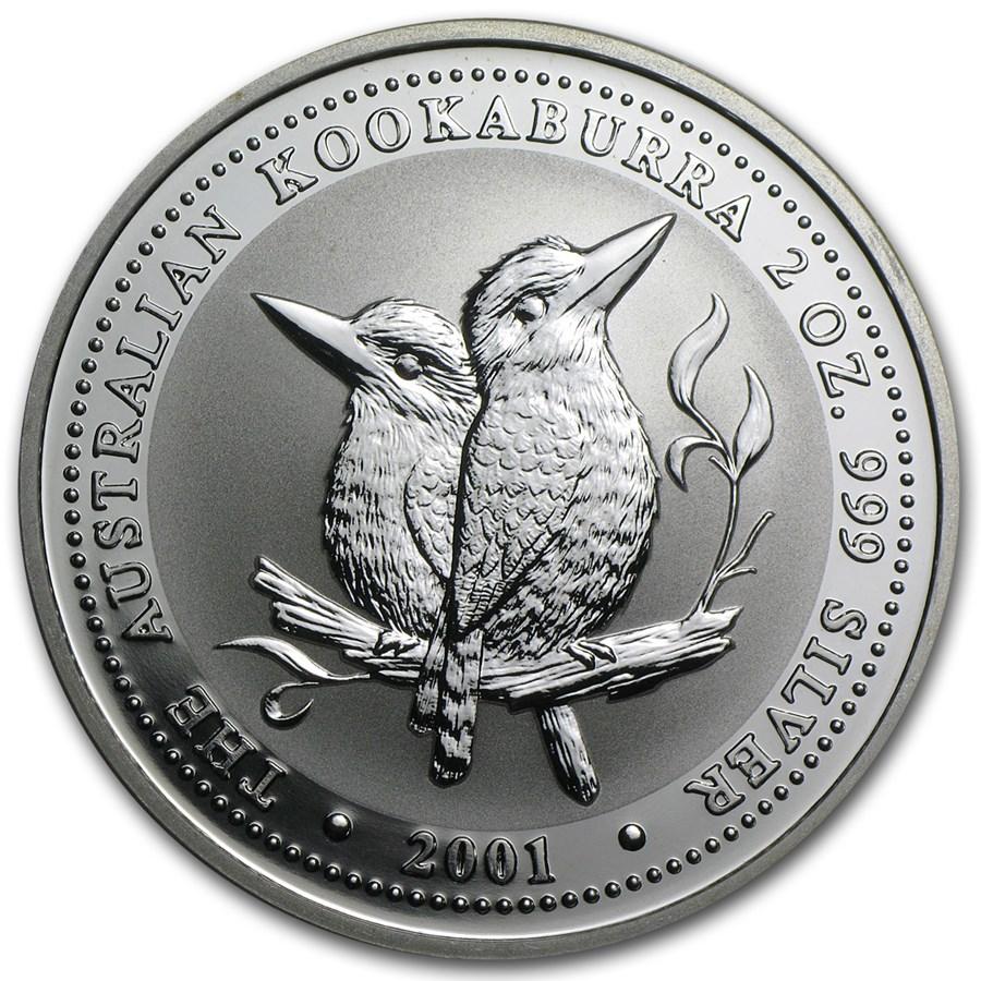 2001 Australia 2 oz Silver Kookaburra BU