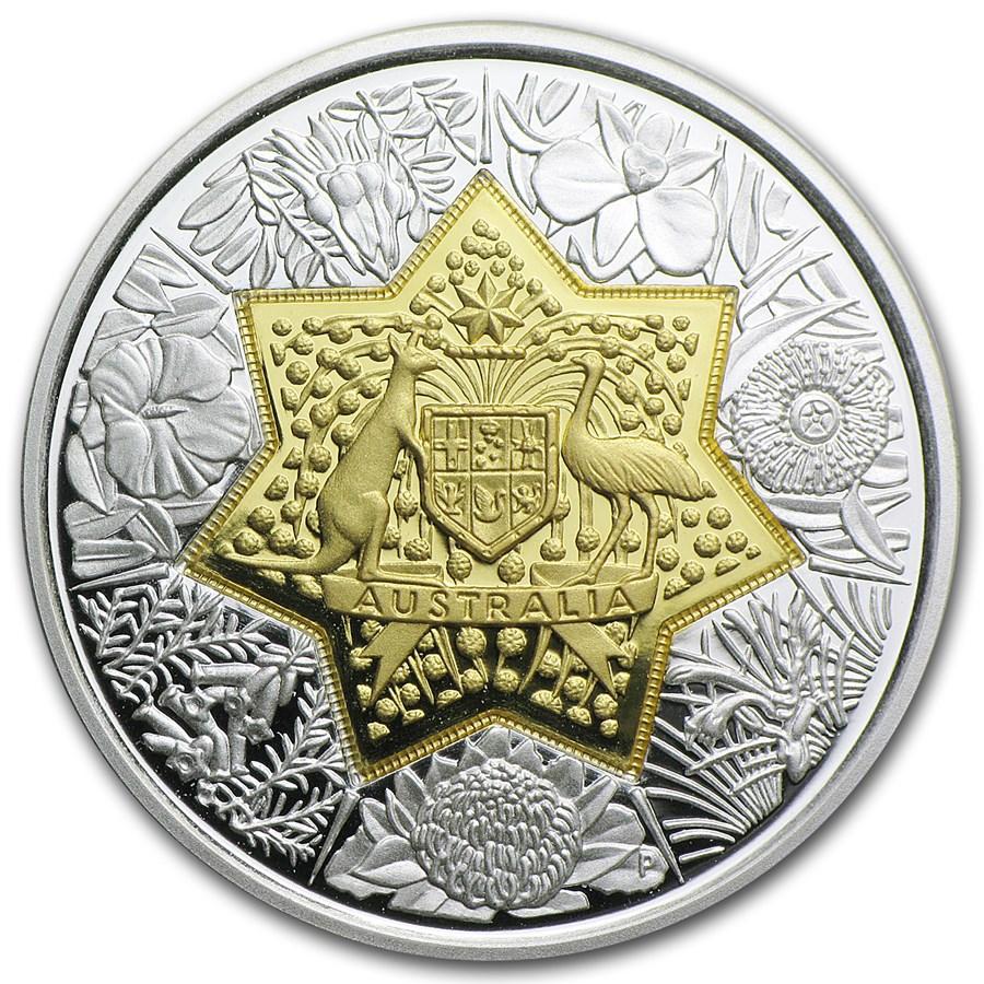 2001 Australia Bi-Metal 21st Century Floral Emblem Coin