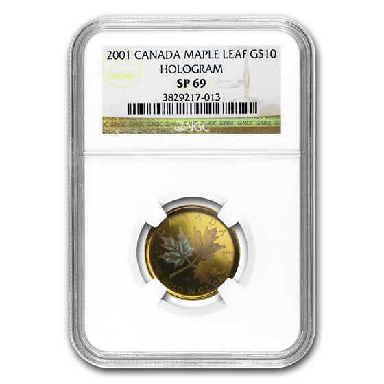 2001 Canada 1/4 oz Gold Maple Leaf SP-69 NGC (Hologram)