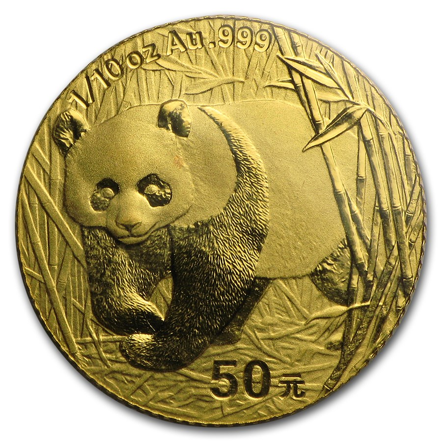 2001 China 1/10 oz Gold Panda BU (Sealed)