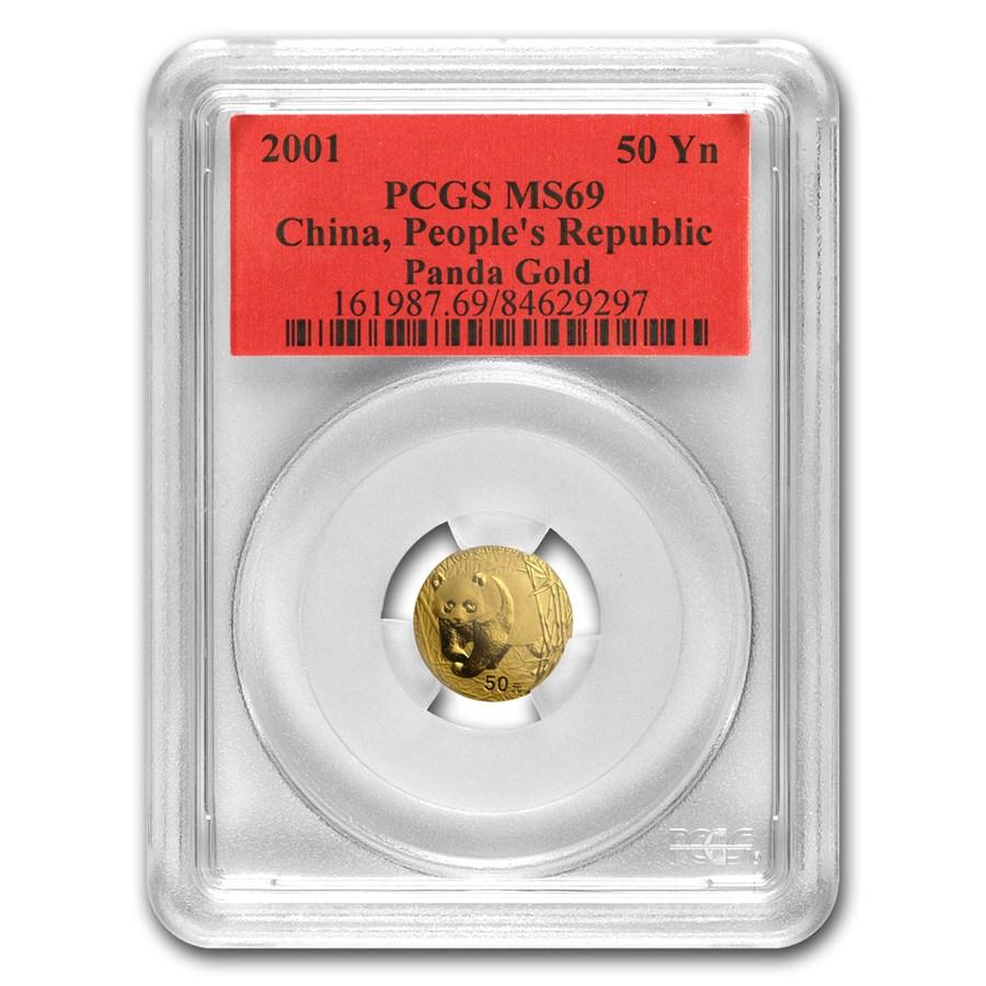 2001 China 1/10 oz Gold Panda MS-69 PCGS